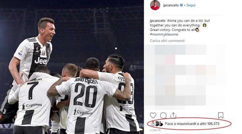 Instagram, il like di Icardi alla foto di Cancelo non passa inosservato