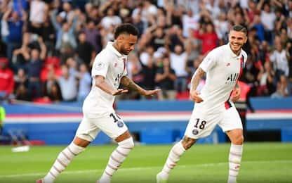 Neymar torna e segna in rovesciata: 32' per Icardi