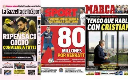 Gigio, Verratti, Ronaldo: il mercato sui giornali