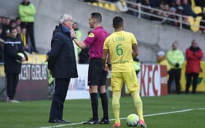 Nantes, Ranieri espulso: mani in testa al IV uomo