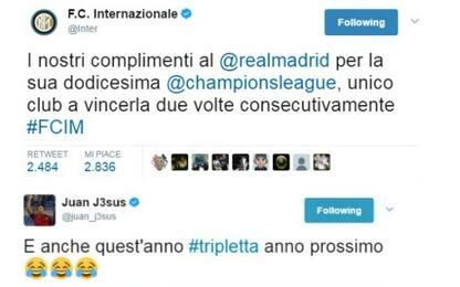 """Inter: """"Complimenti al Real"""". E Juan Jesus scherza"""