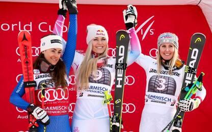 80 volte Vonn, vince discesa Garmisch. 2^Goggia
