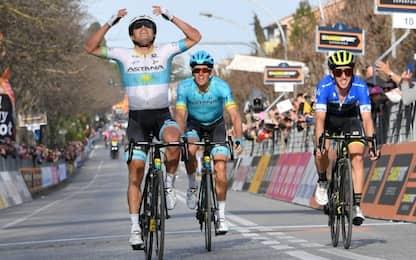 Tirreno, Lutsenko eroico: vince tappa dopo caduta