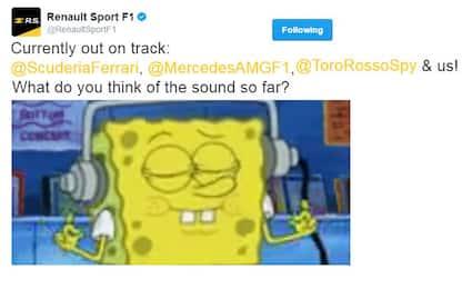 "Renault-Spongebob, tweet ai team: ""E il suono?"""