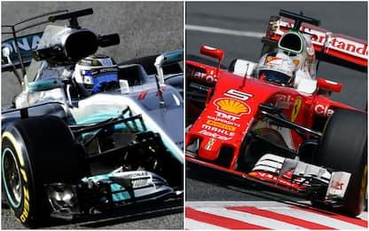 Test F1: duello Mercedes-Ferrari, Vettel sorride