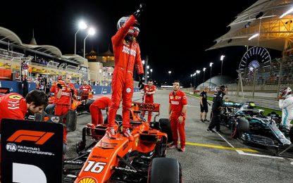 Leclerc nella storia: pole in Bahrain, Vettel 2°