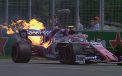 FP3: Stroll, vettura in fiamme. VIDEO