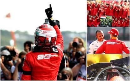 Leclerc trionfa, la dedica a Hubert: highlights