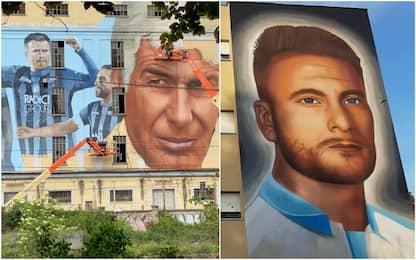 Coppa Italia, murales a Bergamo e Roma. FOTO
