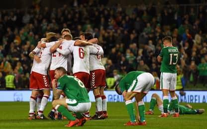 Danimarca al Mondiale: Irlanda travolta 5-1
