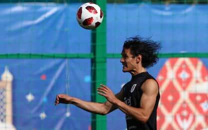 Cavani si allena: in panchina contro la Francia?