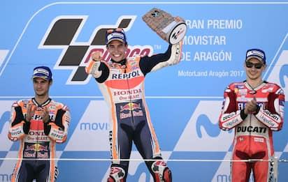 Aragon: Marquez vince e allunga su Dovi, Rossi 5°