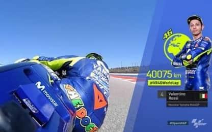 """La celebrazione del """"giro del mondo"""" di Rossi"""