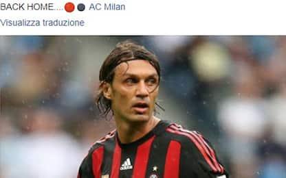 "Maldini su Facebook: ""Milan, si torna a casa"""