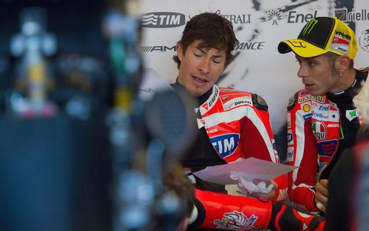 Hayden in Ducati con Valentino Rossi