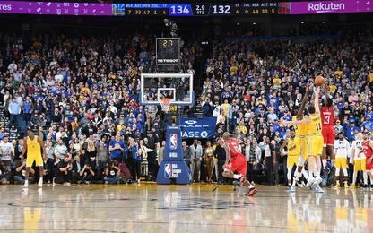 Harden è mostruoso: Warriors battuti all'overtime