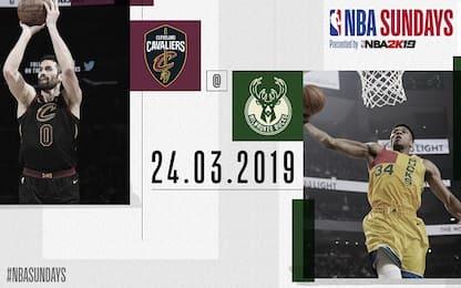 Milwaukee-Cleveland alle 21.30 su Sky Sport NBA