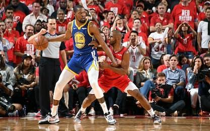 Golden State-Houston alle 4.30 su Sky Sport NBA