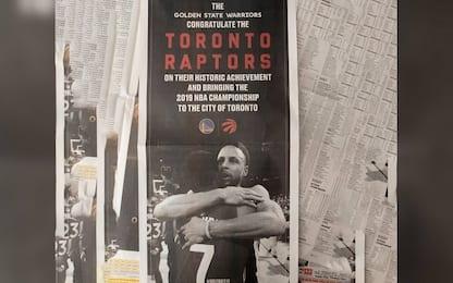 Warriors, una pagina di giornale omaggia i Raptors