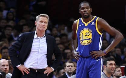 """Steve Kerr sulle parole di Durant: """"Ha ragione"""""""