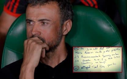Tonfo Spagna, svelati gli appunti di Luis Enrique