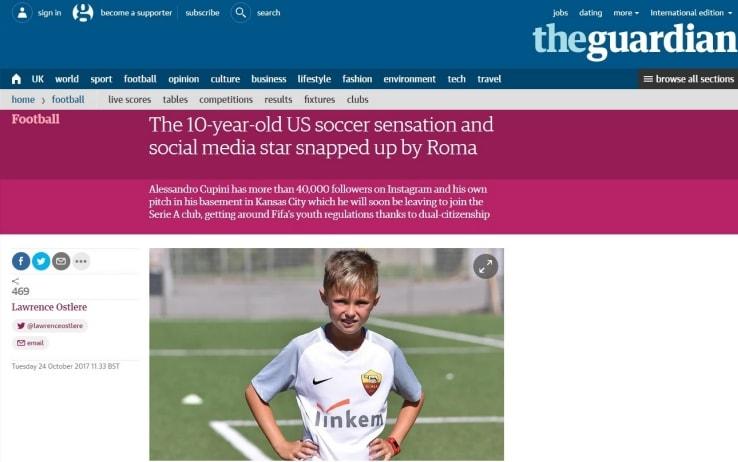 L'articolo del Guardian dedicato a Cupini