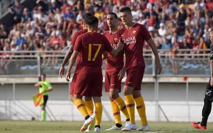 Roma, buona la prima. 9-0 al Latina, triplo Schick