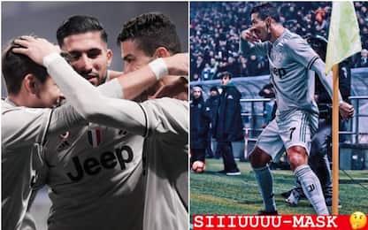 Ronaldo omaggia Dybala, esultanza con la 'mask'