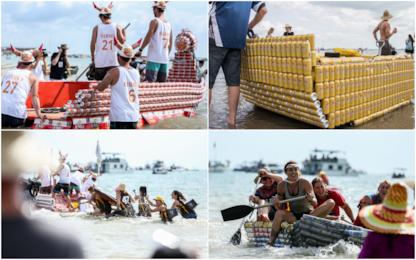 Australia, gara di barche con lattine