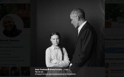 """Cambiamento climatico, Obama incoraggia Greta Thunberg: """"Yes, we can"""""""