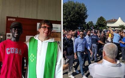 Militanti FN alla messa di don Biancalani. Tensione fuori dalla chiesa