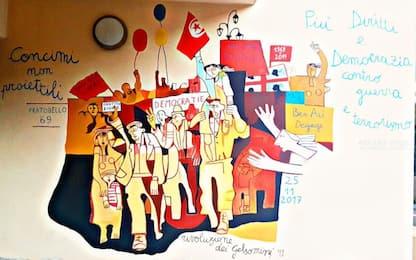 Orgosolo, un murales per l'accoglienza e la libertà