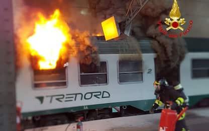 Milano, incendio treno Stazione Centrale