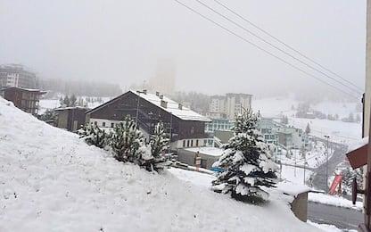 Maltempo, prima neve in Piemonte: imbiancata Sestriere