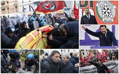 Sabato di tensione per manifestazioni: scontri a Milano, Roma blindata
