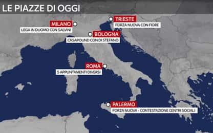 Sabato di cortei a Milano, Roma e Palermo: città blindate