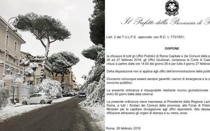 """Maltempo Roma, """"uffici pubblici chiusi"""". Prefettura: """"È fake news"""""""