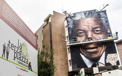 Il maxi murale di Nelson Mandela a Firenze