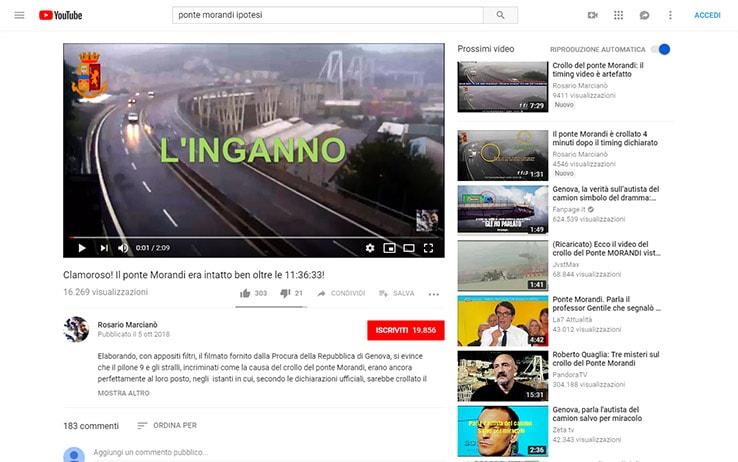 """Uno dei video più raccomandati da YouTube con la ricerca """"Ponte Morandi ipotesi"""""""