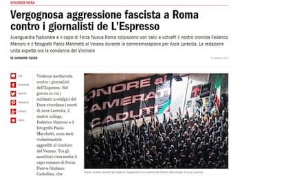 Giornalisti Espresso aggrediti, due denunciati: anche leader romano FN
