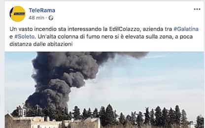 Incendio in un'azienda edile nel Leccese: colonna di fumo in cielo