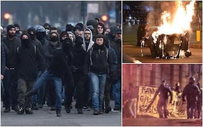 Torino: scontri a corteo anarchici, assaltato bus. FOTO