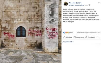"""Trani, cattedrale imbrattata a San Valentino. Il sindaco: """"Idiota"""""""