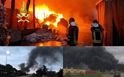 Perugia, incendio in un capannone a Ponte San Giovanni. FOTO