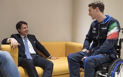 Manuel Bortuzzo, l'incontro con Giuseppe Conte: foto