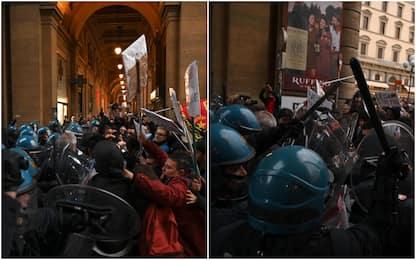 Firenze, cariche della polizia contro i manifestanti anti-Salvini