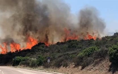 Sardegna, fiamme nei pressi della spiaggia di Tuerredda