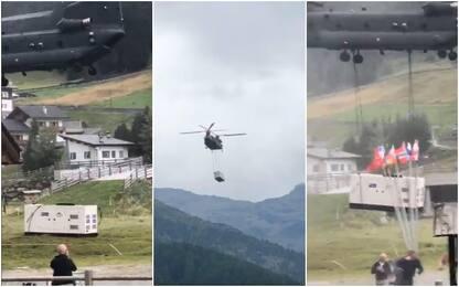 Sondrio, elicottero atterra in un'area affollata: 3 feriti