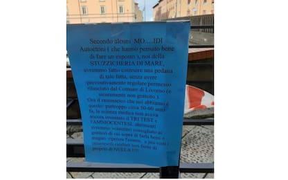 Livorno, polemica per cartello di un locale che offende i disabili