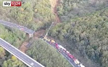 Crollo viadotto sulla A6 Torino-Savona: le immagini dall'alto. VIDEO